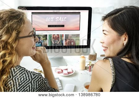 Women Shopping Online Shopaholics Purchase Concept