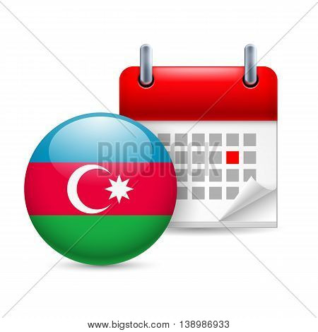 Calendar and round Azerbaijanian flag icon. National holiday in Azerbaijan