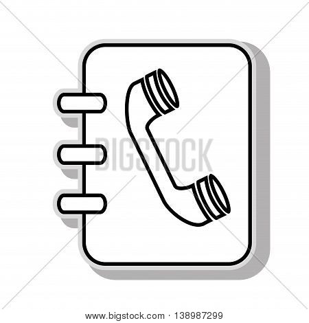 Phonebook , isolated black and white flat icon design