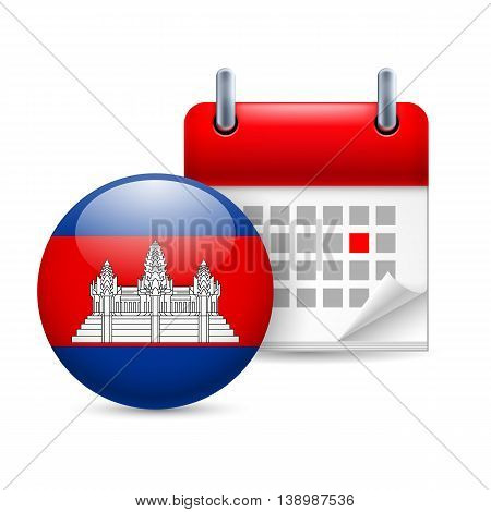 Calendar and round Cambodian flag icon. National holiday in Cambodia