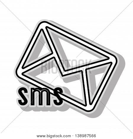 SMS message icon , isolated black and white flat icon design