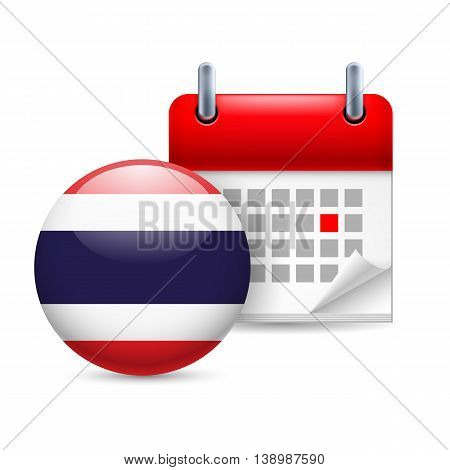 Calendar and round Thai flag icon. National holiday in Thailand