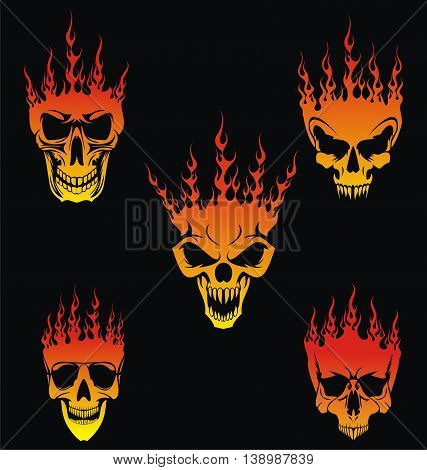 5 Burning Skulls Vector in Flame Style