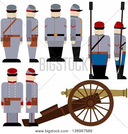 Gunners of the Armed Forces of the Confederation during the US Civil War. The illustration on a white background.