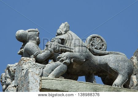 Sala Killing Lion With Daggor; The Symbol Of Hoysala Empire In Lakshmi Devi Temple At Doddagaddavall