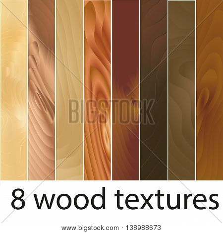 Vector set of 8 wooden textures. Eight variants of wood texture for your design. Colors: dark brown wood texture, light brown wood texture