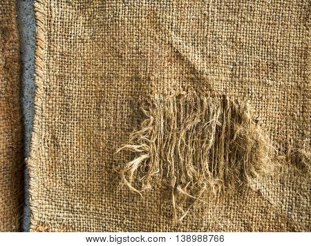 Texture of the tattered of Hemp sack