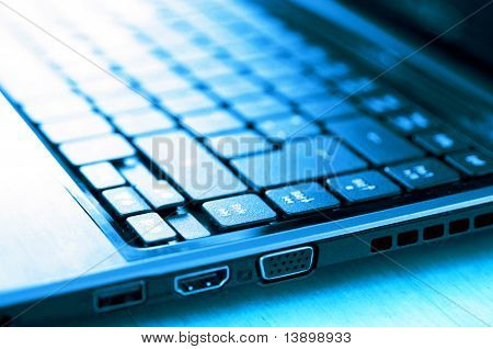 Mobile Pc Or Laptop In Cold Blue Light