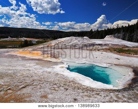 Turquoise Spring Geyser in Yellowstone National Park