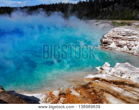 Turquoise Excelsior Geyser in Yellowstone National Park