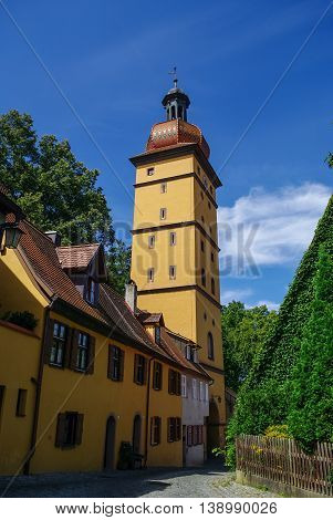 Gate Tower In Medieval Town Dinkelsbuhl, One Of The Archetypal Towns On The German Romantic Road. Ge