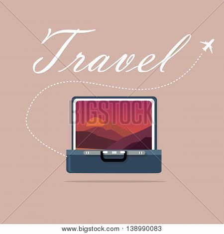 travel case open picture of landscape sky and sunset sunrise traveling symbol of journey exploration vector