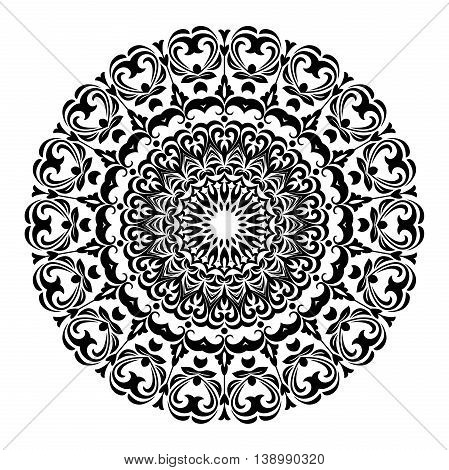 Elegant round ornament in the style of barogue. Abstract traditional pattern with oriental elements