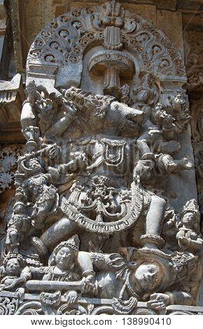 Vishnu in Varaha avatar killing demon Hiranyaksha by crushing his head to protect Bhoodevi (mother earth); wall carving in Hoysaleshwara temple at Halebidu Hassan district Karnataka state India Asia