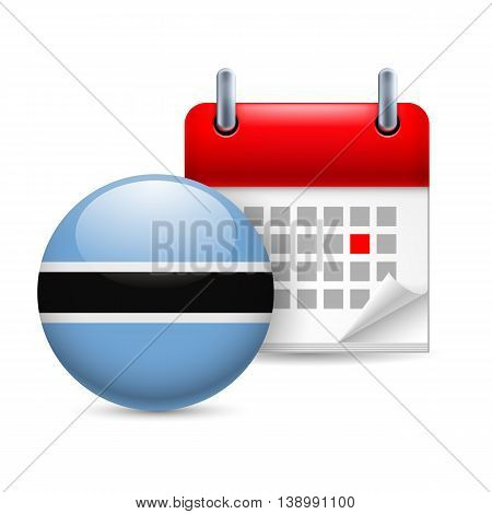Calendar and round flag icon. National holiday in Botswana