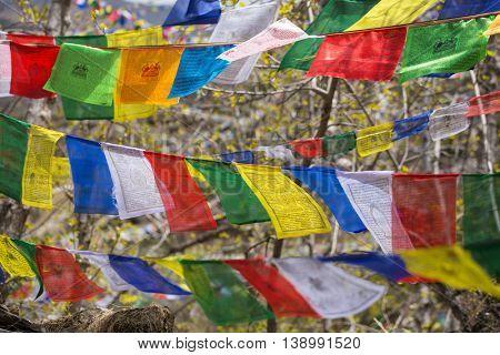 Buddhist praying flags in Nepal
