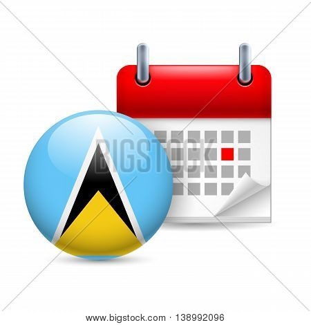 Calendar and round flag icon. National holiday in Saint Lucia