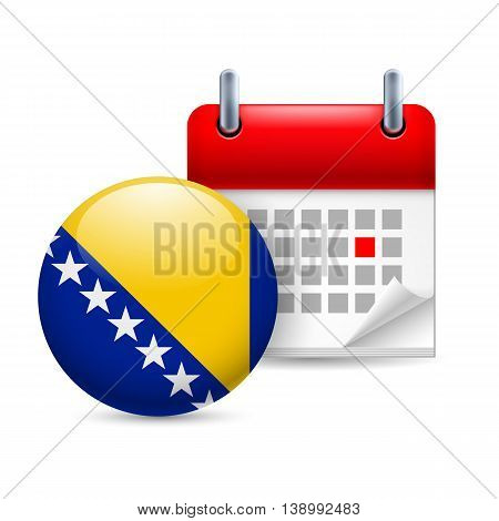 Calendar and round flag icon. National holiday in Bosnia and Herzegovina