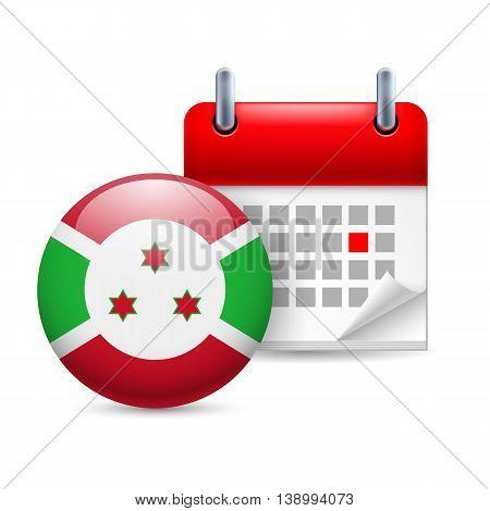 Calendar and round Burundian flag icon. National holiday in Burundi
