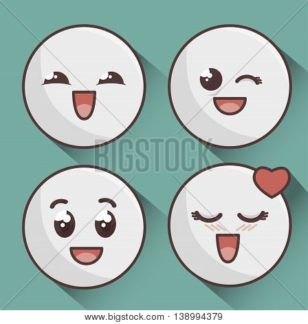 set of emoticons isolated icon design, vector illustration  graphic