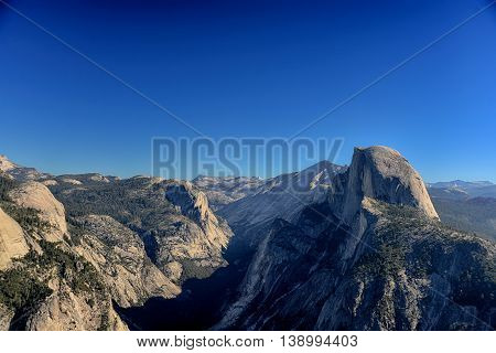 Glacier Point Overlook View And Half Dome In Yosemite National Park