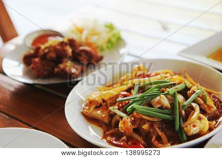 Spicy Shrimp, Squid Salad Hot And Sour. Thai Food.