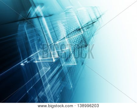 Abstract background element. Fractal graphics series. Three-dimensional composition of intersecting grids. Information technology concept. Blue toned image.