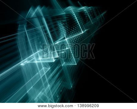 Abstract background element. Fractal graphics series. Three-dimensional composition of intersecting grids. Information technology concept. Blue and black toned image.