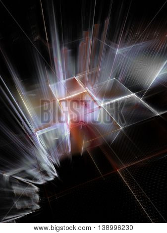 Abstract background element. Fractal graphics series. Three-dimensional composition of intersecting grids. Information technology concept. Red, white and black colors.