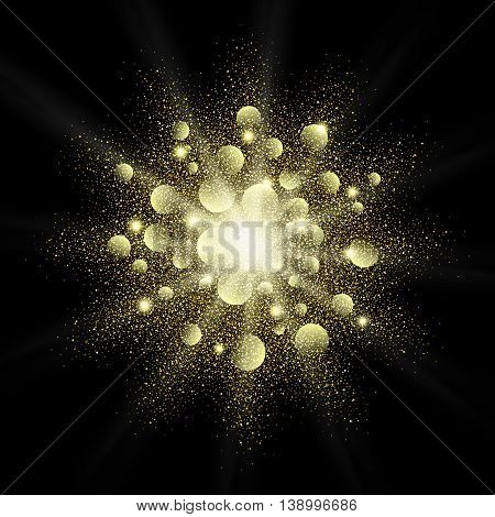 Golden glitter vector texture splash on black background. Gold glitter background. Gold background for card vip exclusive certificate, gift, luxury, privilege, voucher, store, present, shopping.