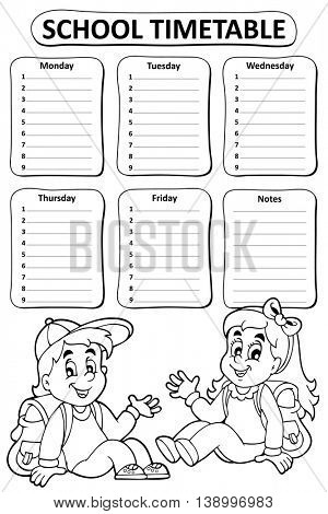 Black and white school timetable theme 4 - eps10 vector illustration.