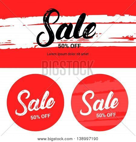 Sale up to 50 percents off. Banner set. Hand written lettering with brush texture. Vector illustration.