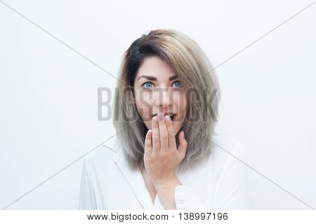 Young Blue Eyes Blonde Woman Amazed