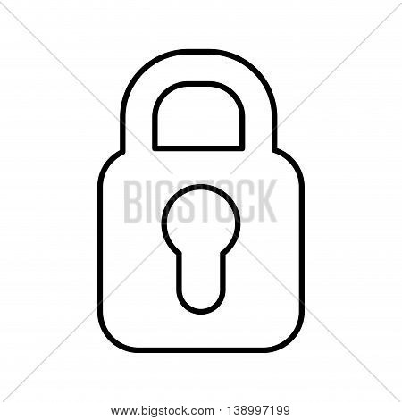 padlock icon, security lock and protection,  isolated lineal vector