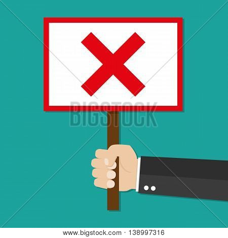 Cartoon Businessman hand hold sign with red cross. negative checkmark in center. wrong choice concept. illustration in flat design on green background.