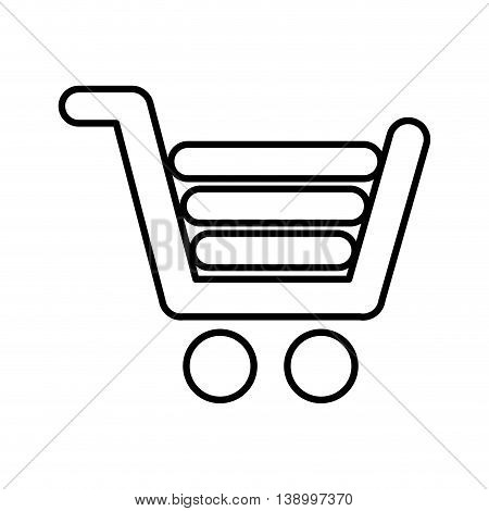 gray shopping cart, commercial market,  isolated lineal vector