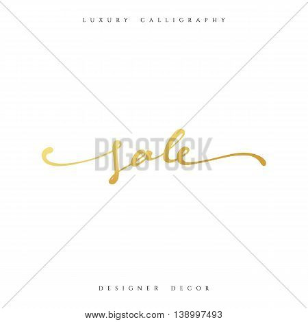 Sale offer text gold calligraphy written by hand. luxury fashion design decor
