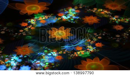 Abstract fractal fantasy field of orange and blue flowers.Fractal artwork for creative designflyer cover interior poster.