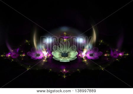Abstract fractal fantasy alien magenta flowers with glow.Fractal artwork for creative designflyer cover interior poster.