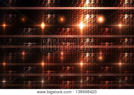 Bright lines and sparks on black background. Fantasy geometric fractal design in orange and beige colors. 3D rendering.