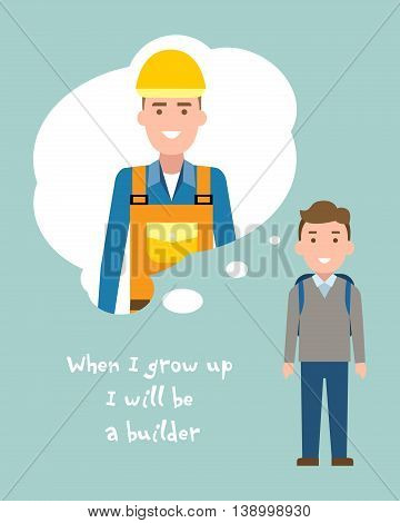 Kid wants to be a builder or engineer poster. Smiling little boy chooses profession.