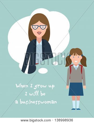 Kid wants to be a businesswoman poster. Smiling little girl chooses profession.
