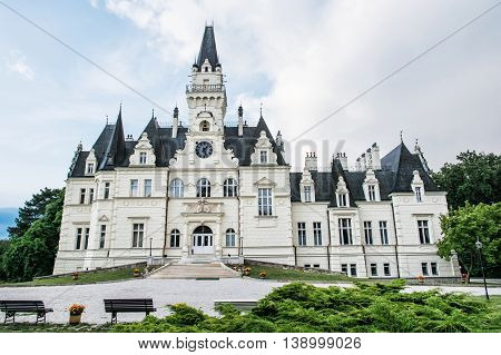 Beautiful Budmerice castle in Slovak republic. Architectural theme. Travel destination. Cultural heritage. Beautiful place.
