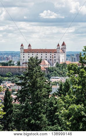 Bratislava castle in capital city of Slovak republic. Architectural theme. Cultural heritage. Travel destination. Beautiful place. Seat of power. Vertical composition.