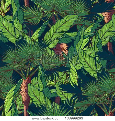 Banana and fan palm trees on a dark blue background. Tropical jungle. Seamless pattern with Irregular distribution of elements. EPS10 vector illustration.