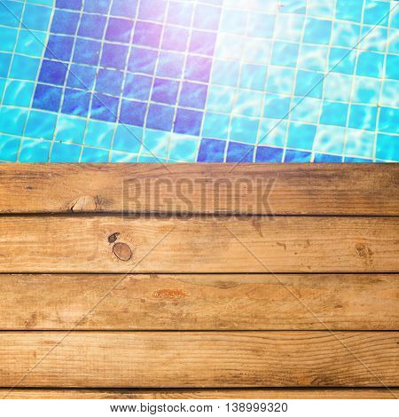 Background with wooden deck and swimming pool