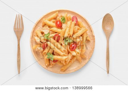 Design Concept Of Mockup Penne Pasta Isolated On White Background. Clipping Path Included On White B