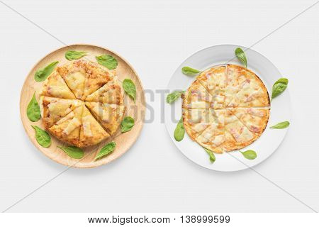 Design Concept Of Pizza Set Isolated On White Background. Clipping Path Included On White Background