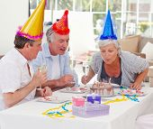 pic of old couple  - Seniors on birthday at home - JPG