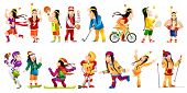 Постер, плакат: Set of illustrations of american indians wearing sports uniform American indians playing hockey ba